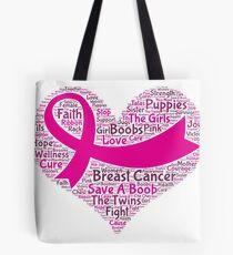Breast Cancer Word Cloud Tote Bag