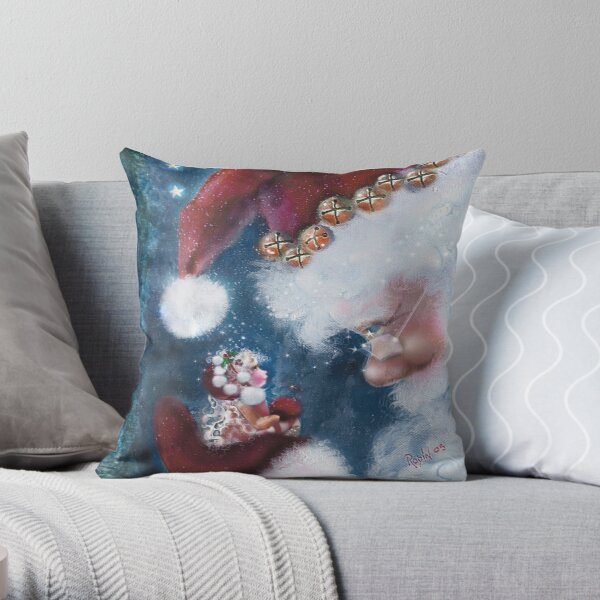 Santa and Elf Christmas Cheer Throw Pillow