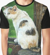 Regal White Calico Cat, painting Graphic T-Shirt