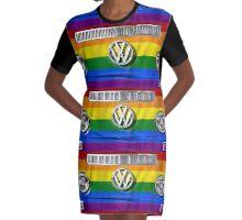 VW LGBT flag Graphic T-Shirt Dress
