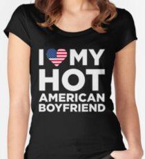 I Love My Hot American Boyfriend Women's Fitted Scoop T-Shirt