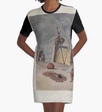 African Scenery and Animals Samuel and William Daniell 1804 0079 Bosjesmans Frying Locusts_jpg Graphic T-Shirt Dress