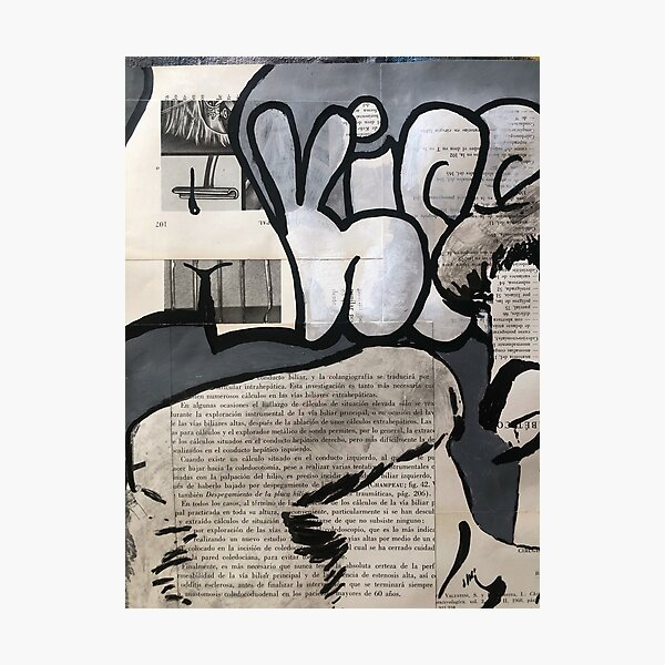 Worn street posters| Kiss | Graffiti wall | Pop art | Street-art aesthetics Photographic Print