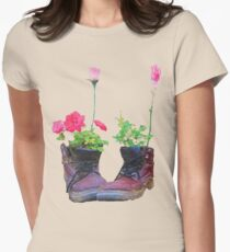 Old shoes with flowers Womens Fitted T-Shirt