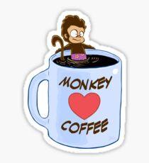 Monkey Heart Coffee Sticker