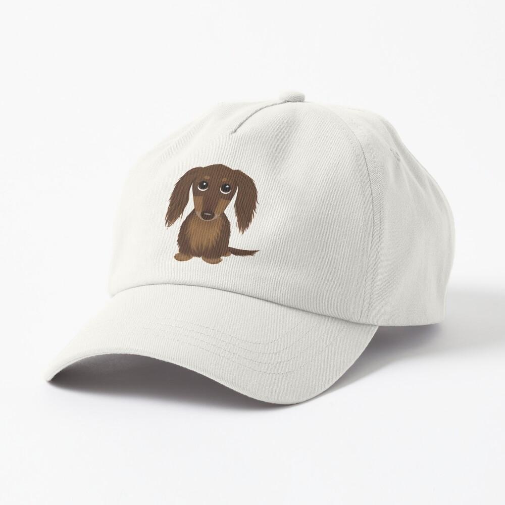 Longhaired Chocolate Brown Dachshund Cartoon Dog Cap