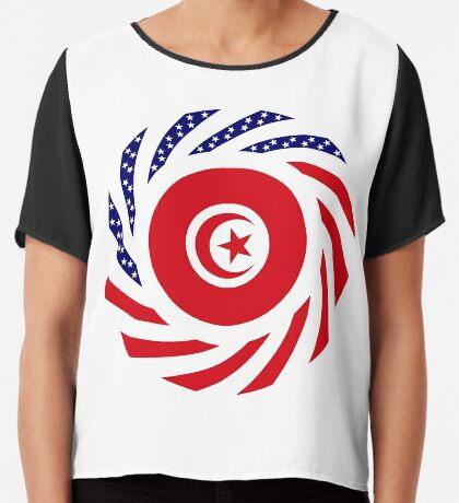Tunisian American Multinational Patriot Flag Series Chiffon Top