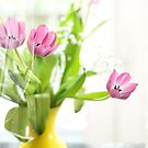 Pink Tulips In Yellow Vase by Lois  Bryan
