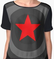 Black and White Shield With Red Star Women's Chiffon Top