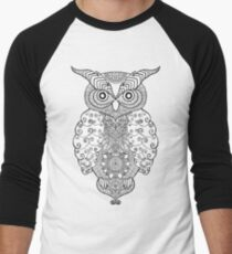 Black white hand draw ornamental owl Men's Baseball ¾ T-Shirt
