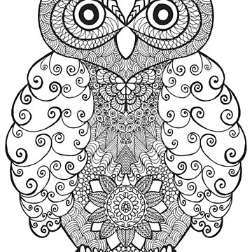 Black white hand draw ornamental owl by palomita222
