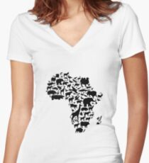 Animals of Africa Women's Fitted V-Neck T-Shirt