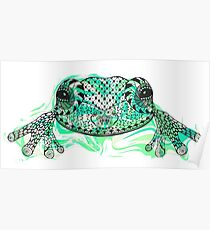Zentangle stylized frog with abstract  colorful grunge background Poster