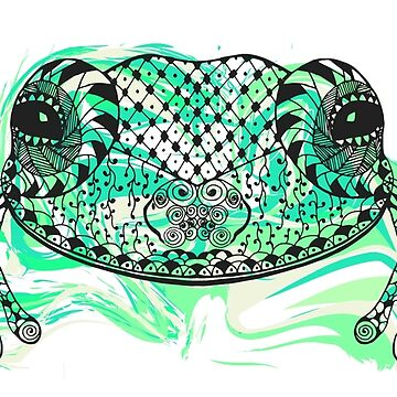Zentangle stylized frog with abstract  colorful grunge background by palomita222