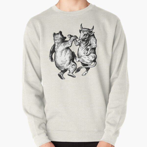 Hoodies Sweatshirt Pockets Cartoon,Bull Bear Wild Competition,Sweatshirts for Women