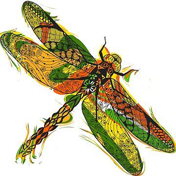 Beautifull hand drawn dragonfly by palomita222