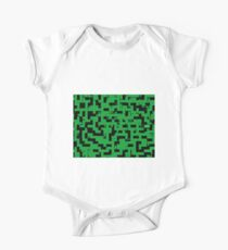 Line Art - The Bricks, tetris style, green and black One Piece - Short Sleeve