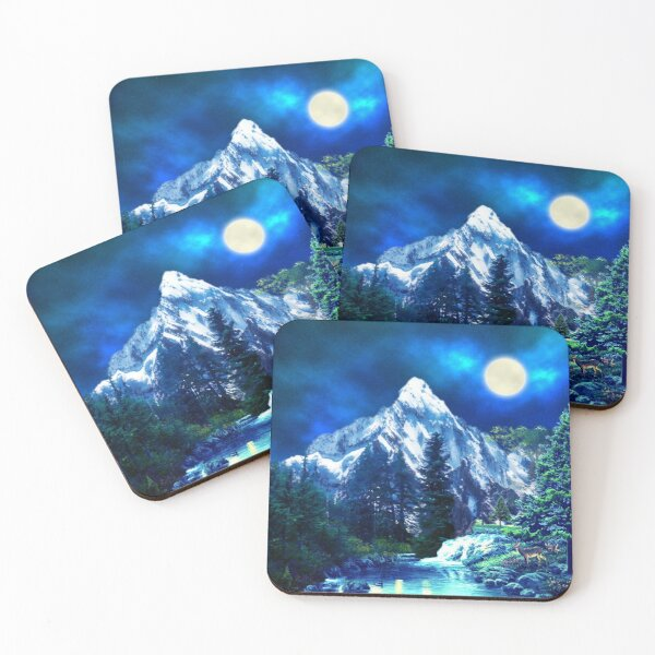 Mountains and Wildlife Night Mood Forest Coasters (Set of 4)