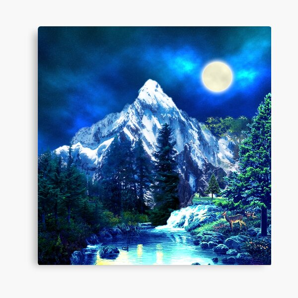 Mountains and Wildlife Night Mood Forest Canvas Print