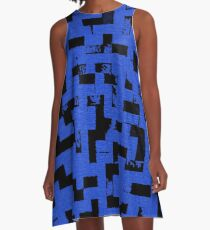 Line Art - The Bricks, tetris style, dark blue and black A-Line Dress