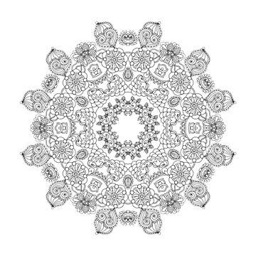 Zentangle stylized floral mandala by palomita222