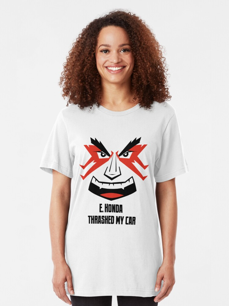 Alternate view of E. HONDA Thrashed My Car Slim Fit T-Shirt