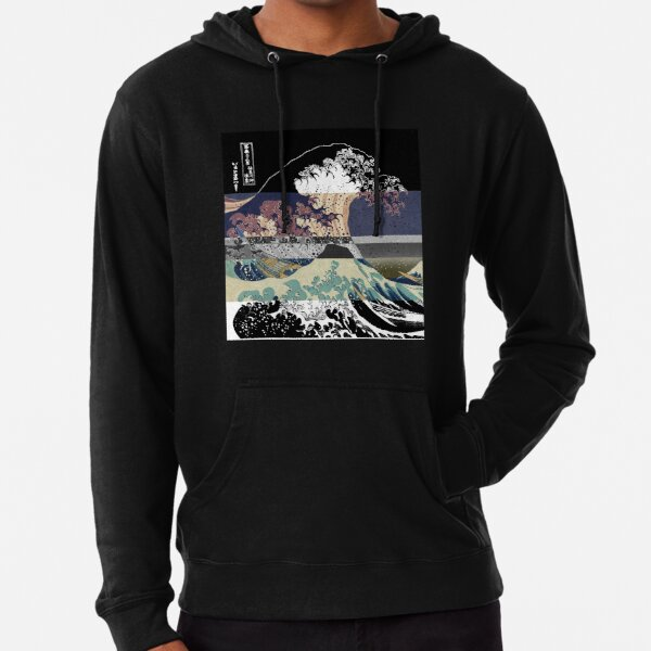 the great wave color glitch  Lightweight Hoodie
