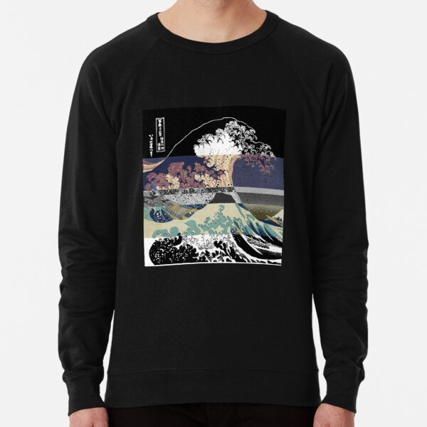 the great wave color glitch  Lightweight Sweatshirt