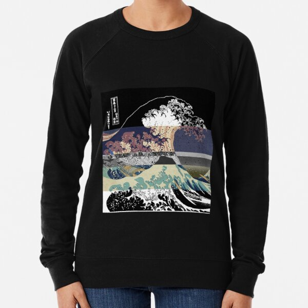 the great wave color glitch  Lightweight Sweatshirt