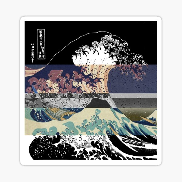 the great wave color glitch  Sticker
