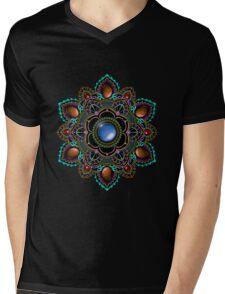 Purple and Teal Mandala with Gemstones Mens V-Neck T-Shirt