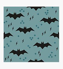 Pattern with bats. Children's ornament with superheroes Photographic Print
