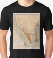 0295 Karte der Sinai Halbinsel Unisex T-Shirt