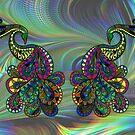 Abstract fractal & a peacock drawing by NadineMay