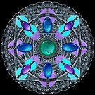 White on Black Gemstones Mandala by WelshPixie