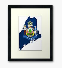 Maine Map with Maine State Flag Framed Print