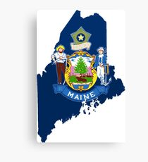 Maine Map with Maine State Flag Canvas Print