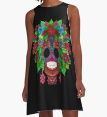 Colourful Sugar Skull A-Line Dress