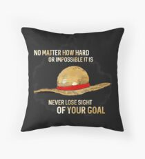 One Piece quote - straw hat Throw Pillow
