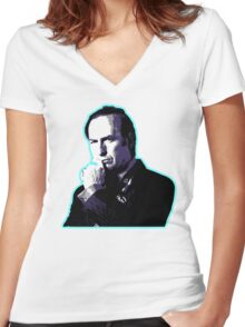 Awesome Saul Goodman - Stencil - Breaking Bad Better call Saul - Street art Graffiti Popart Andy warhol Women's Fitted V-Neck T-Shirt