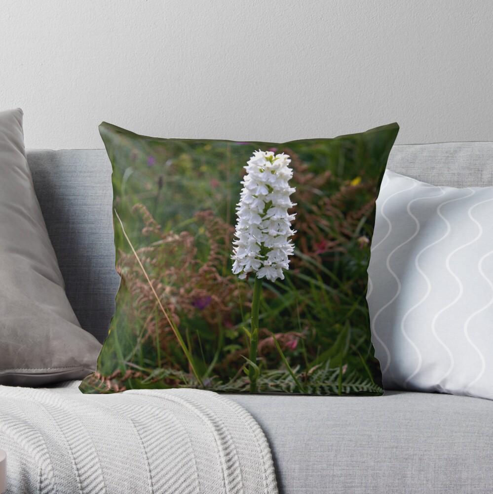 Irish White Orchid, Inishmore Throw Pillow