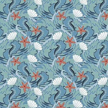 sea ​​pattern with shells and starfish by Anutina