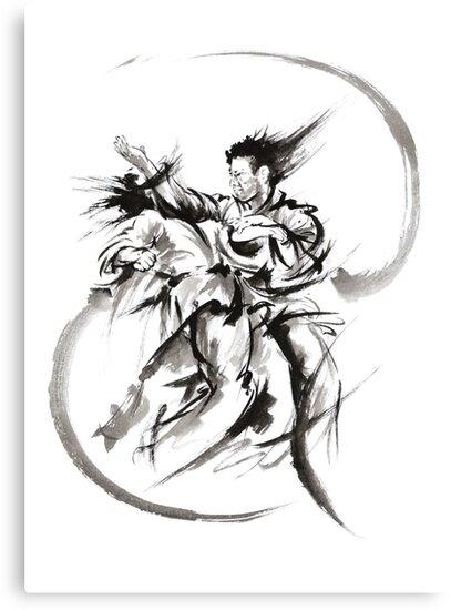 Aikido Martial Arts Large Poster Samurai Warrior Black and White by Mariusz Szmerdt