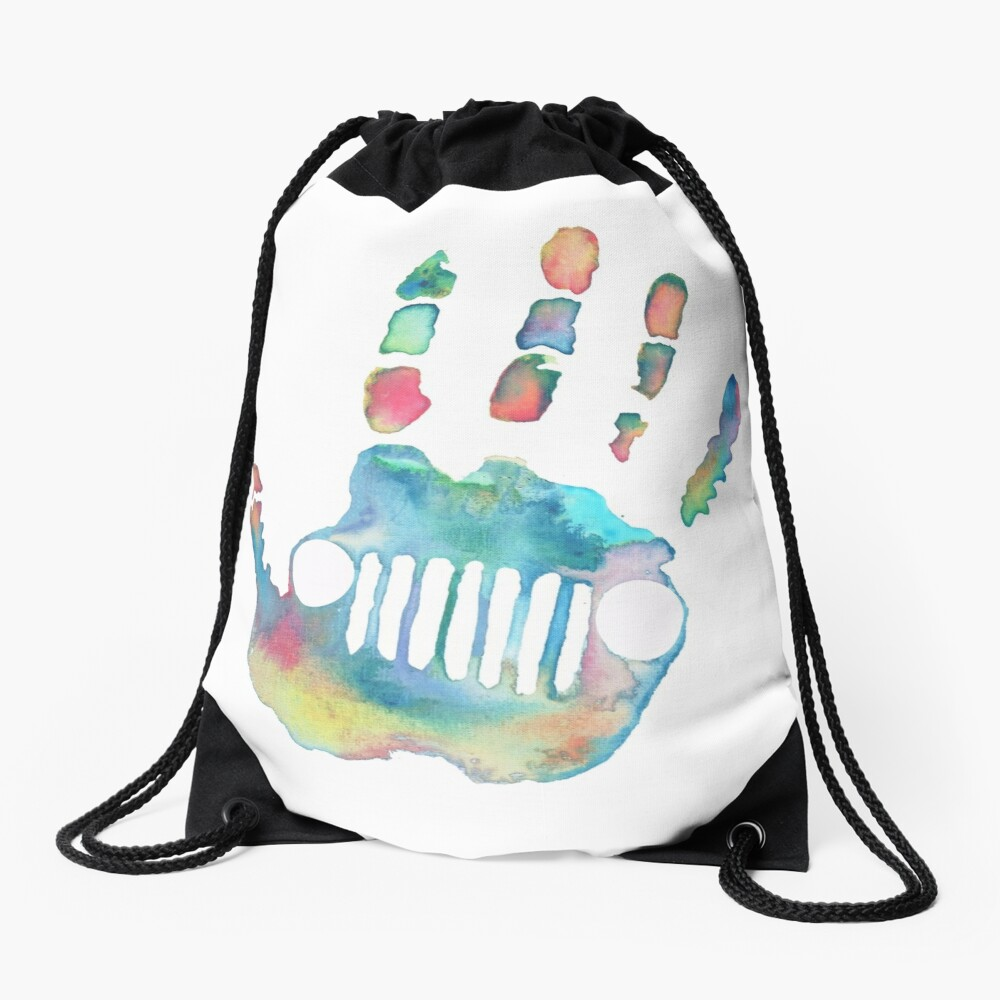 Watercolor Jeep wave Drawstring Bag