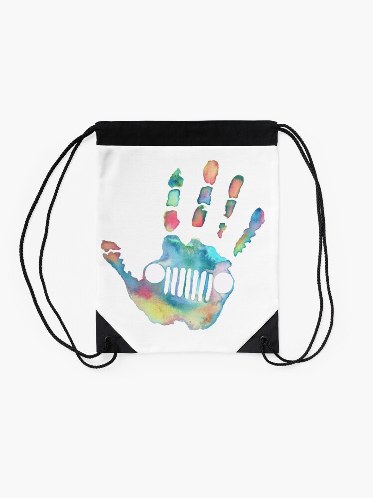 Alternate view of Watercolor Jeep wave Drawstring Bag