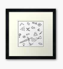 It's Dangerous to Go Alone Ink Pattern Framed Print