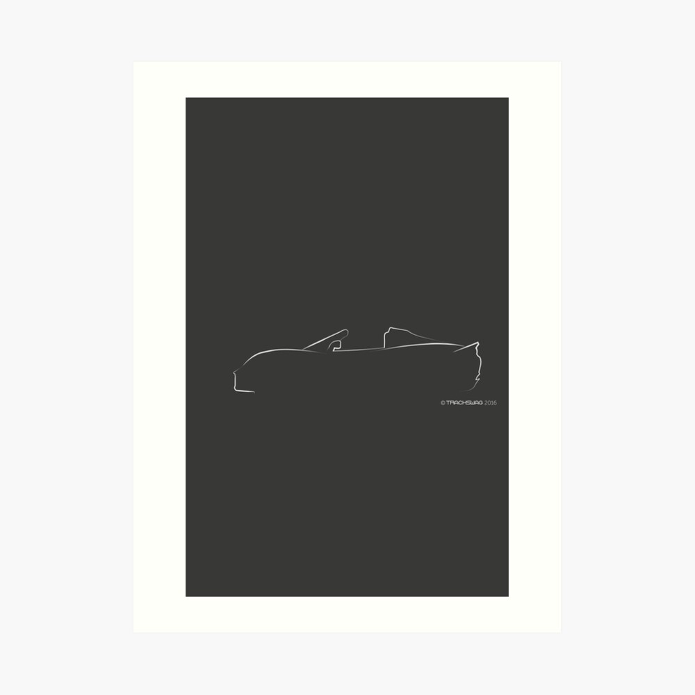 Profile Silhouette Lotus Elise - white Art Print