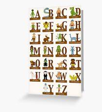 Tarjeta de felicitación Alfabeto de criaturas míticas