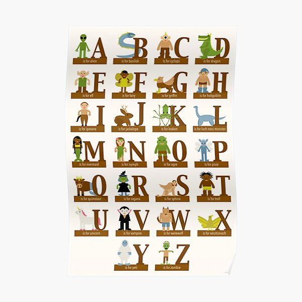 Mythical Creatures Alphabet Poster