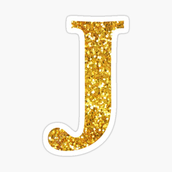 gold glitter j Sticker